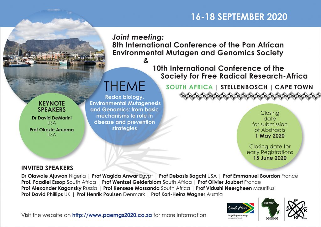 8th International Conference of the Pan African Environmental Mutagen and Genomic Society (PAEMGS) and 10th International Conference of the Society of Free Radical Research-Africa (SFRR-Africa) @ Protea Hotel, Stellenbosch, Cape Town